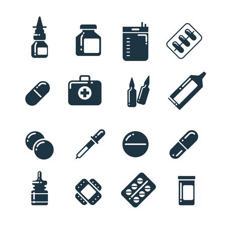 medicine bottles: Medication pharmacology pills, tablets, medicine bottles vector icons. Medical drugs bottle and capsule, illustration of pharmacy drug