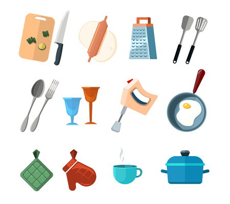 Vintage kitchen tools, home cooking vector icons. Set of tools for cooking fork and spoon, illustration of cocooking elements Illustration