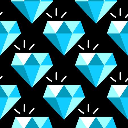 Vector blue diamonds seamless pattern. Background with gem stone illustration