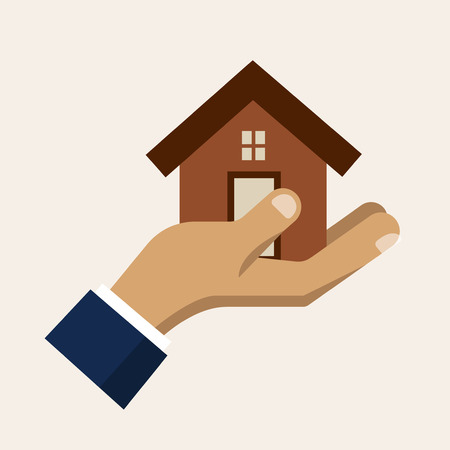 security guard man: Hand holding a house, insurance service vector icon. Insurance and safety for home illustration