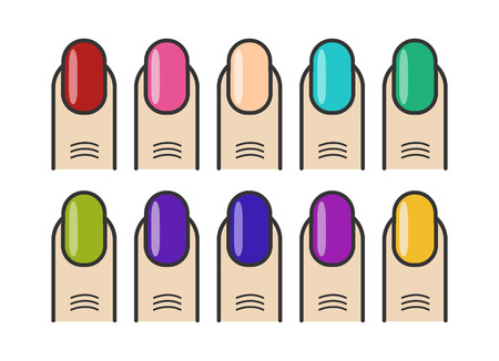 Manicure fingers and colorful nails vector icons set. Collection of colored nails illustration