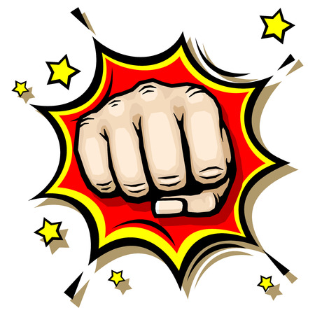 riot: Punching hand with clenched fist vector illustration. Strength and anger revolt illustration