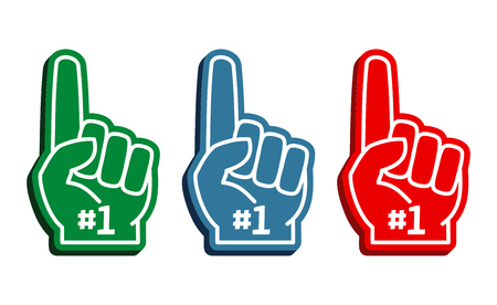 Colorful foam fingers vector set. Number one and best illustration Stock Illustratie