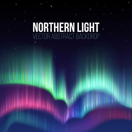 Winter sky with polar lights vector background. Nature phenomenon aurora borealis, illustration of polar light night