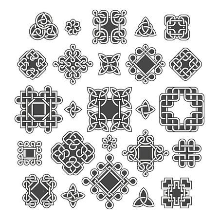 Chinese and celtic endless knots and patterns vector. Set of traditional tattoo, illustration of decoration oriental tattoo