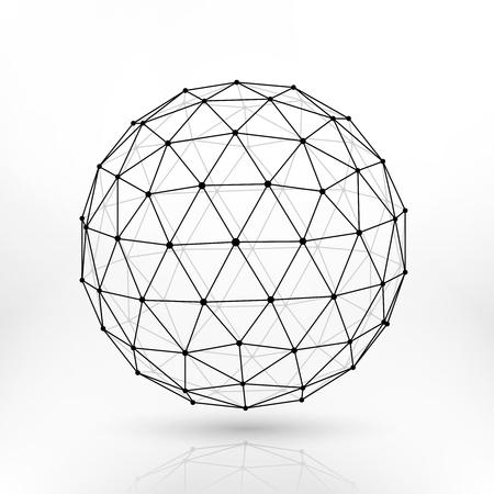 Sfera poligonale wireframe, linee di rete disegno astratto vettoriale frattale. Sfera struttura poligonale, illustrazione della sfera poligonale