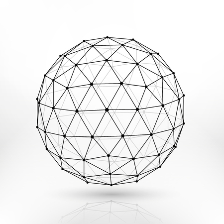 Sphère polygonale filaire, lignes réseau abstraite conception vectorielle fractal. Sphère structure polygonale, illustration de la sphère polygonale