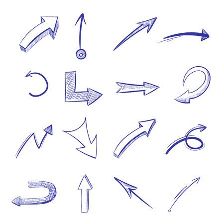 flechas curvas: Vector hand drawn curved arrows. Drawing curve arrow, illustration of arrow painted pen Vectores