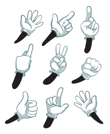 Cartoon arms, gloved hands. parts of body vector illustration. Hand in white gloves, collection of hand gestures 일러스트