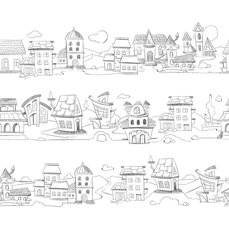 Cityscape with hand drawn doodle houses vector illustration. Sketch of street with small houses, drawing architecture in city Illustration