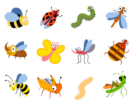 Funny insects, cute cartoon bugs vector set. Colored insects bee butterfly and ladybird, collection of cute insects