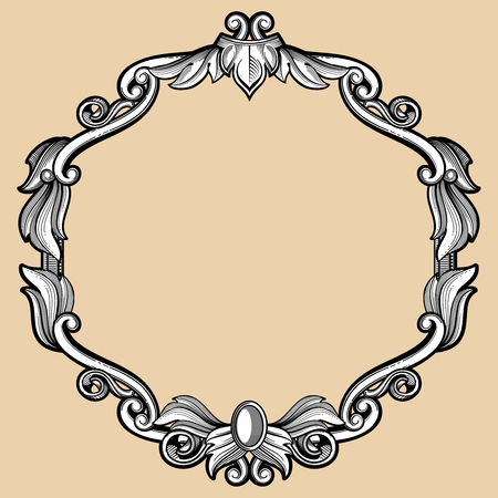 Engraving border frame with pattern in retro antique style. Antique royal ornate frame, illustration of baroque frame with flourish decoration