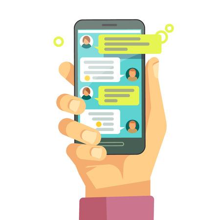 Chatear con chatbot en el teléfono, conversación en línea con el concepto de vector de mensaje de texto. Mensajes usando el teléfono, ilustración de la pantalla con mensajes