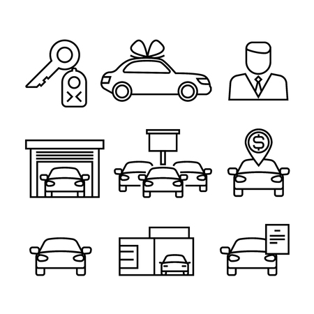 car for sale: Car dealerships, purchase and sale of cars line vector icons for automobile shop, dealer car sales illustration Illustration