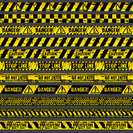 caution: Crime accident scene caution, warning police vector grungy yellow and black tapes. Riibon stop line, illustration set of ribbons for area barriers
