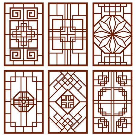 한국의 전통 문 및 창 장식, 중국 벽 디자인은, 일본은 벡터 설정 프레임. 전통적인 중국 장식 그림