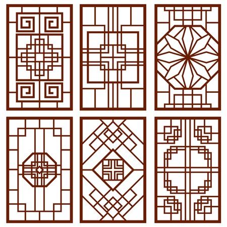 Traditional korean door and window ornament, chinese wall design, japan frames vector set. Traditional chinese decoration illustration Фото со стока - 70510620