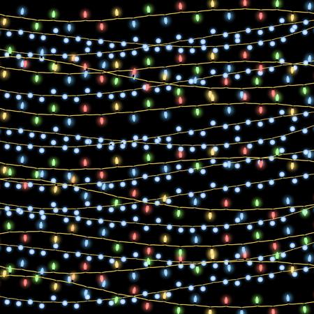 Glowing Christmas garlands vector background. Garland on string decor illustration