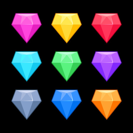 Colorful vector diamonds isolated over black, game elements. Collection of gem for interface game illustration Illustration