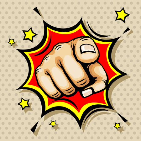 Hand with finger pointing vector illustration in pop art style. Pointing gesture symbol Stock Photo