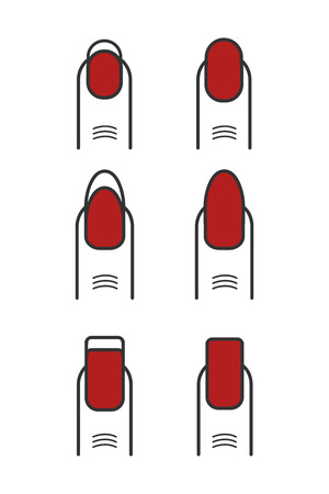 Manicure with red nail polish vector icons set. Different nail collection illustration
