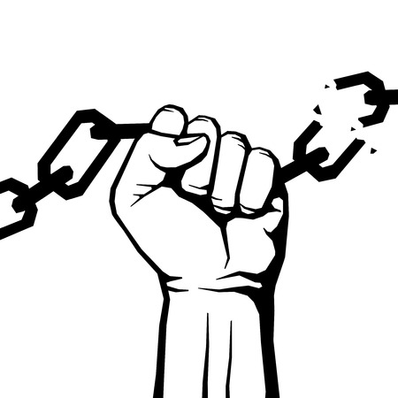 Breaking chain protest, rebel vector poster. Human hand breaking chain illustration Stock Photo