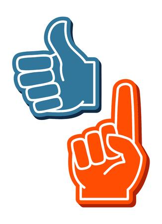 Colorful foam fingers vector set. Human thumb up sign illustration Stock Photo