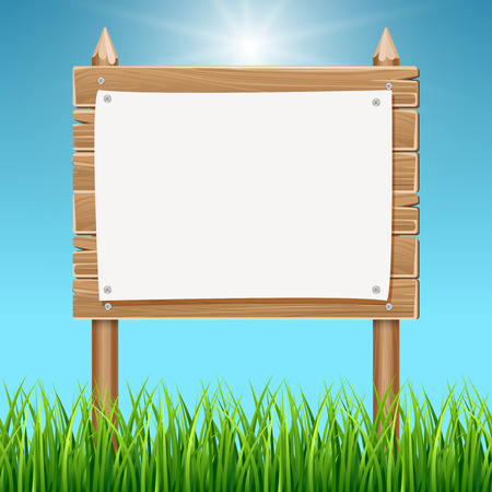 summer sign: Wooden blank sign board with paper blue sky. Billboard with empty poster illustration Illustration