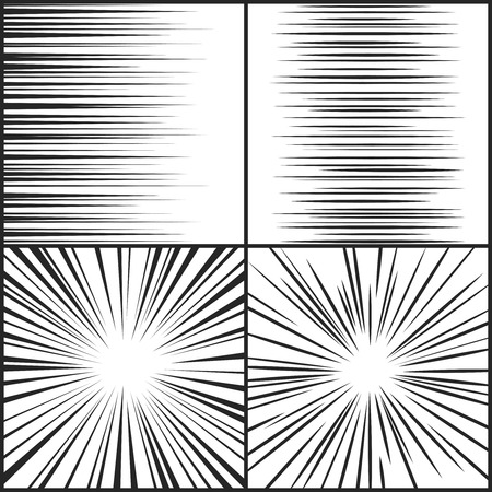 Speed lines, motion strip manga comic horizontal and radial effect vector set. Radial abstract speed line from motion, illustration of drawing radial texture Illustration
