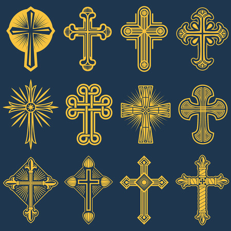 Gothic catholic cross vector icons, catholicism symbol. Christianity symbol religion, set of christianity crosses illustration