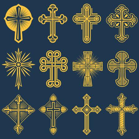Gotische katholieke kruis vector iconen, katholicisme symbool. Christendom symbool godsdienst, set van christendom kruisen illustratie