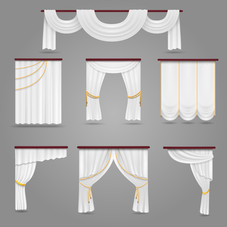 Gold velvet curtain drapery wedding stage decoration vector white curtains drapery for wedding room and windows vector set textile silk curtains for interior junglespirit Images