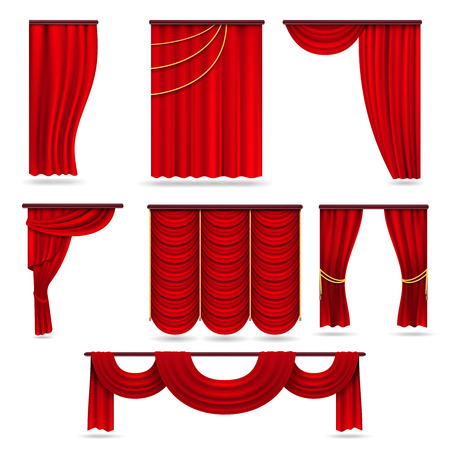 classical theater: Red velvet stage curtains, scarlet theatre drapery isolated on white vector set. Silk classical curtains for opera decor, presentation red theater curtain illustration