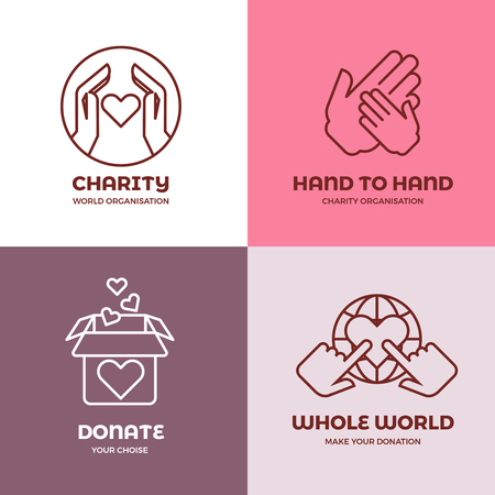 nonprofit: Nonprofit and volunteer organization, charity, philanthropy concept vector logo set. Concept of charity, illustration of emblems charity world organization
