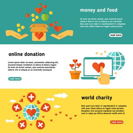 À but non lucratif, la charité, la philanthropie, faire un don, donner des dons, ensemble de banderoles vecteur d'aide sociale. Affiche web de don en ligne, illustration de la charité mondiale et don Vecteurs