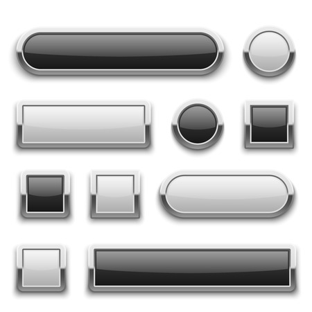black button: White and black 3d technology buttons with shiny silver chrome metal frame. vector set. Template of empty buttons, illustration of metal frame button for web design