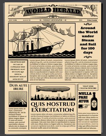 Retro zakenkrant, oud vuil vellen krantenpapier vector mockup. Retro newspaperwith nieuws, illustratie van de top news tabloid