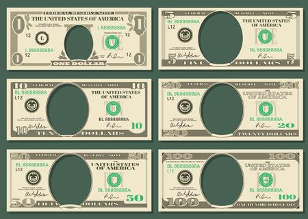 Dolar waluty notatki wektor pieniądze. Szablony banknotów dolarowych z miejscem na prezydentów, ilustracyjne dolary amerykańskie