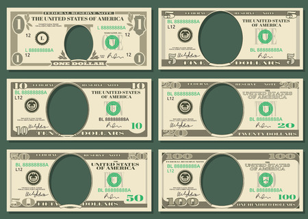 Dollar currency notes vector money. Templates of dollar notes with space for presidents, illustration american dollars Vettoriali