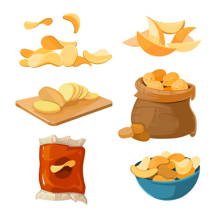 Salty fried potato chips snacks vector set. Delicious and harmful chips. Ilustration of packaging chips Illustration
