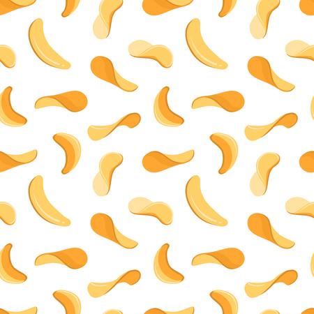 Salty crispy potato chips snacks vector seamless background. Vintage pattern with thin chips, illustration of potato chip