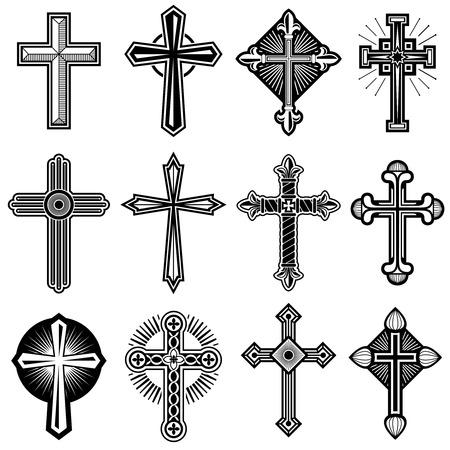 Cruz cristiana católica con los iconos del vector del ornamento. Conjunto de cruces religiosas, ilustración de la cruz blanca de Cristo negro