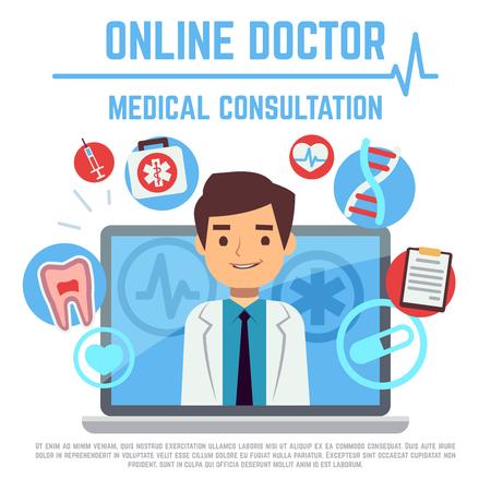 Online doctor, internet computer health service, medical consultation vector concept. Online medical consultation and support, illustration of medical service