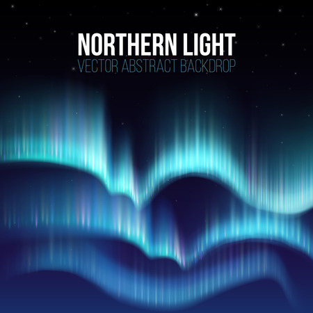 Northern lights, nunavut canada, pole arctic night abstract background. Aurora borealis in atmosphere, colorful sky with colored northern lights. Vector illustration Ilustrace