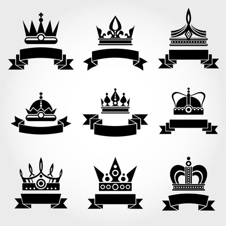 Royal Vector Crowns And Ribbons Logo Templates Set In Black Crown Label Monochrome Design Illustration