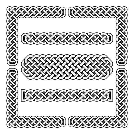 noeuds celtiques vecteur frontières médiévales et éléments d'angle. Coin cadre illustration écossais