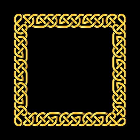 Platz goldener keltischer Knoten Vektor-Rahmen. Deko-Element Rahmen Illustration
