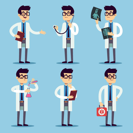 Doctor, chemist, pharmacist, surgeon man cartoon characters vector set. Doctor with stethoscope and X-ray, dentist doctor in white illustration Ilustração