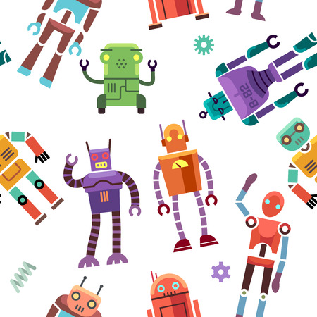 humanoid: Kids toy robot, humanoid, spaceman, cyborg vector. Seamless pattern with color toy robot, illustration of robotic machine toys