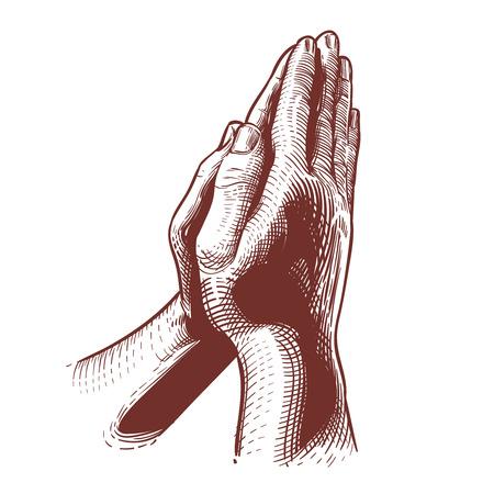 기도 손, 성경,기도 축복 손 종교 손으로 그린 벡터 일러스트 레이 션. 하나님 께기도하기 위해 결합 된 상징적 인 손 스톡 콘텐츠 - 71549671